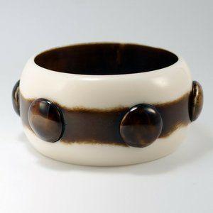 Chunky Wide Brown White Polka Dot Bangle Bracelet